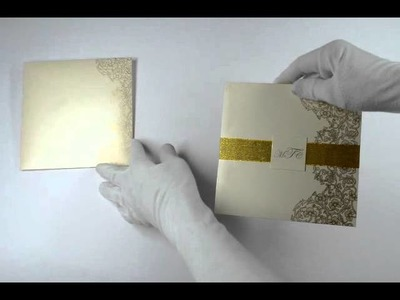 D-4645, Cream Color, Shimmery Finish Paper, Ribbon Layered Cards, Designer Multifaith Invitations