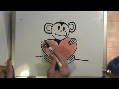 HOW TO DRAW A BABY CHIMP with a HEART ~ EASY, FUN ART LESSON!