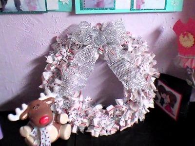 Inexpensive Handmade Christmas Rag Wreath Gift Idea #2