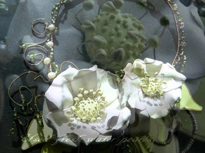 """OOAK Polymer Clay Necklaces & wire """" Anemone flowers"""" by Kastina"""