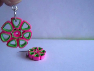 Paper Jewelry - Handmade Quilling Earrings (Open Flower)