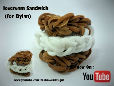 Rainbow Loom Icecream Sandwich.S'mores.Oreo Charm Tutorial