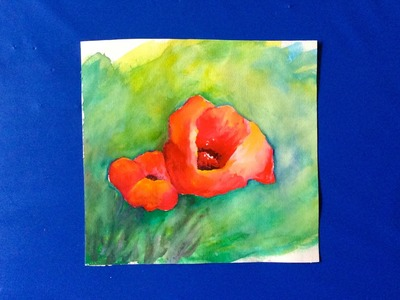Free Watercolor tutorial ~ How to paint Poppies the easy way