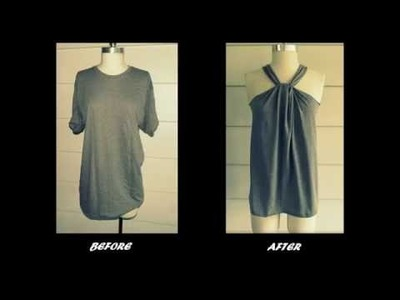 How to Transform old T-shirt to Halter Neck  - DIY Clothes