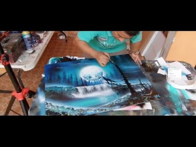 Wolf howling moon spray paint art