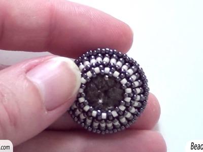 BeadsFriends: Beaded earrings and beaded necklace - A new beaded bezel earring and a netted necklace