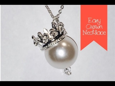 Crown and Pearl Pendant Necklace