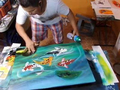 Koi fish spray paint art