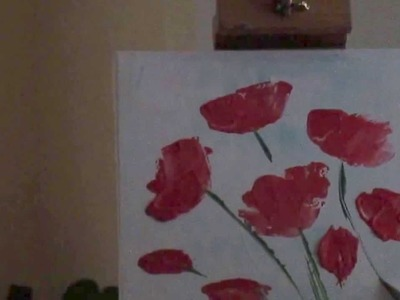 Tanja Bell How to Paint Flowers Poppies Tutorial Palette Knife Painting Technique Lesson Demo Part 2