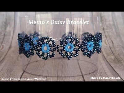 Memo's Daisy Bracelet Beading Tutorial by HoneyBeads 1 (Design by Evangeline Louise Wedeman)