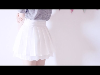 Sewing + DIY Knife Pleated Skirt (double-layered)
