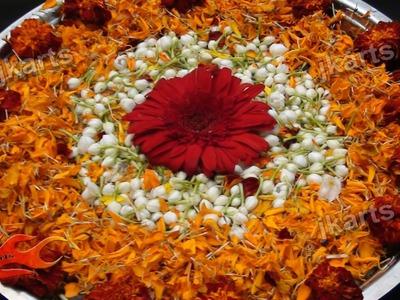 DIY Flower Rangoli on Water 2 - JK Arts 191
