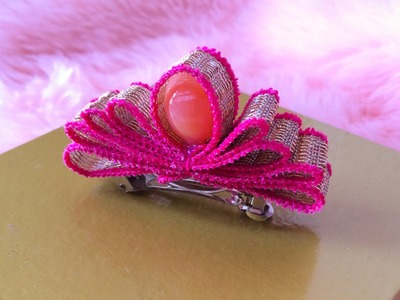 DIY: How to make a crown with ribbon-- hair clip
