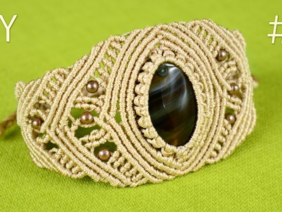 How to Make a Macrame Bracelet with Stone - Part #2