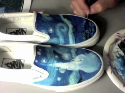 Custom Painted Shoes - EnHaoKicks Starry Night Vans