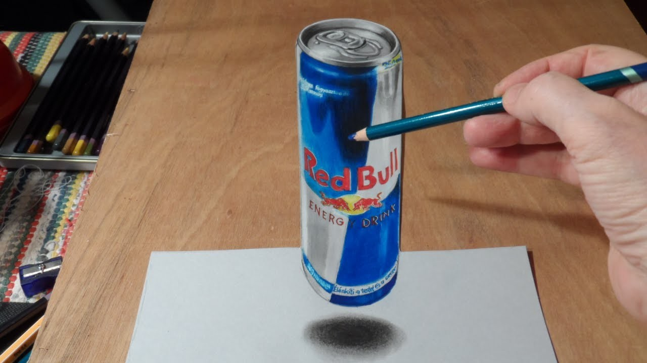 Drawing  3D Levitating Red Bull Can
