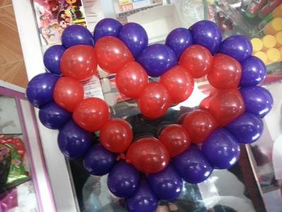 Corazón de globo, Balloon heart - Decoraciones con globos