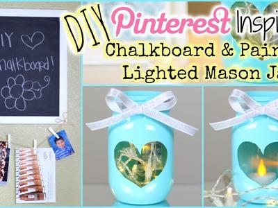 DIY: Pinterest Inspired Painted Lighted Mason Jar + DIY Chalkboard | Collab W. Dearnessa