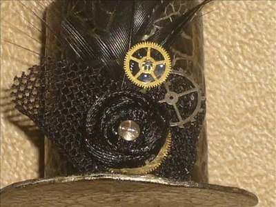 How to make a miniature Steampunk top hat using a bottle or soda top.