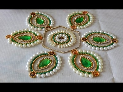 How to Make rearrangeable kundan Rangoli (hexagon flower)