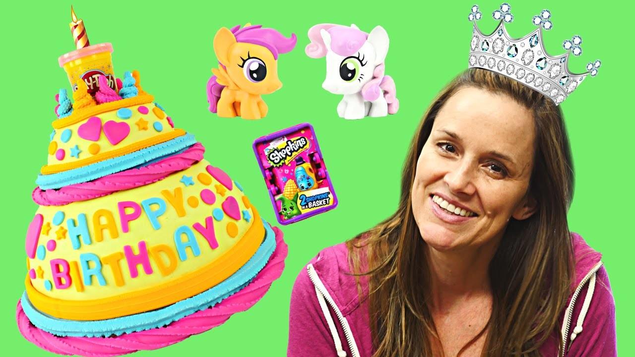 Huge BIRTHDAY Play Doh Cake Surprise Toys Frozen MyLittlePony POP Shopkin Hello Kitty Egg Plastilina