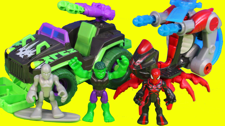 Marvel Super Hero Hulk Mud Stormin 4x4 Spider-man Arachno Blade Copter Silver Surfer Toys