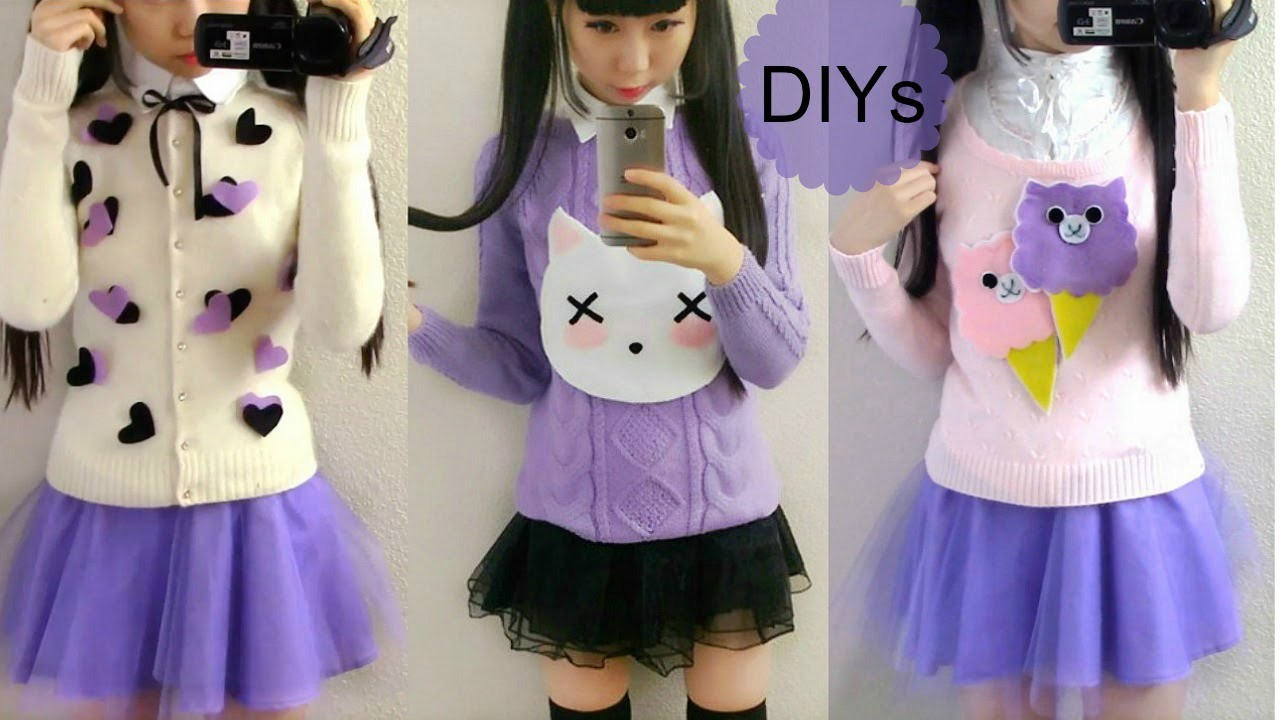3 Sweater DIYs: Alpaca + Gothic Pastel Cat + Heart + Outfit Ideas (Milk Bag+Navy&Snowflake Sweaters)