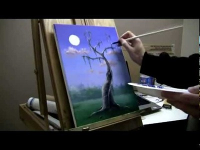 How To Paint A Moonlit Tree Scene - Painting Lessons by Brandon Schaefer