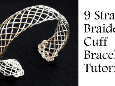 "Jewelry Tutorial : 9 Strand ""Viking"" Weave Braided Bracelet - Intermediate Wire Wrapping"