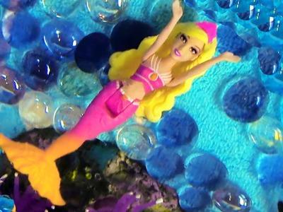 Mermaid Barbie The Pearl Princess Mini Doll Orange Dolphin Bathtub Toy Opening