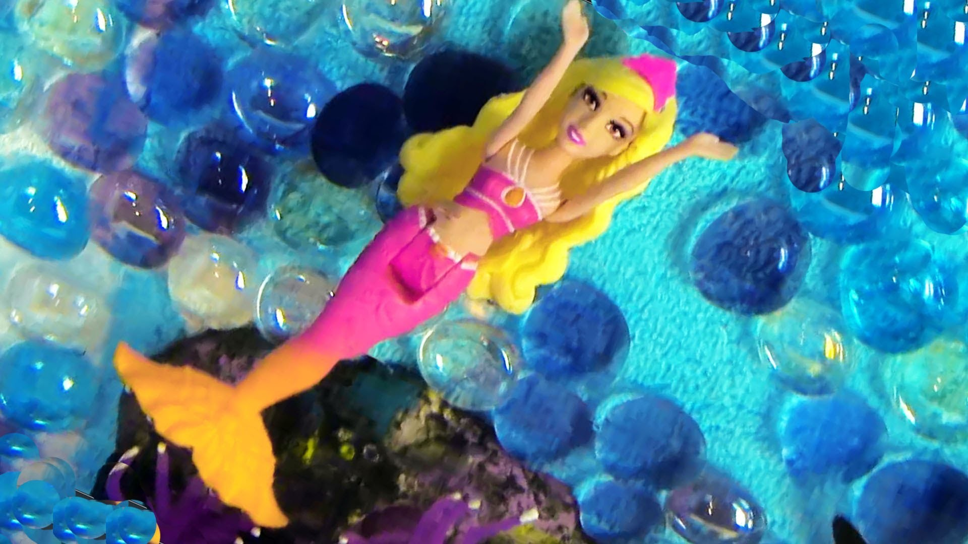 Mermaid Barbie The Pearl Princess Mini Doll Orange Dolphin Bathtub Toy Opening