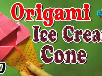 Origami - How To Make ICE-CREAM CONE - Simple Tutorials In English