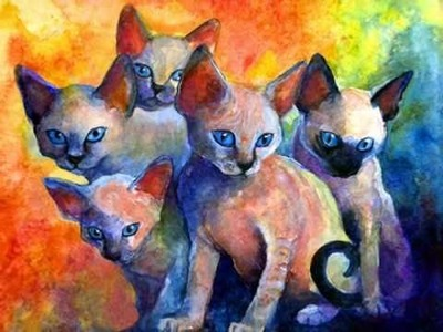 Contemporary Cat Portrait Paintings by Russian Artist Svetlana Novikova art cat pictures