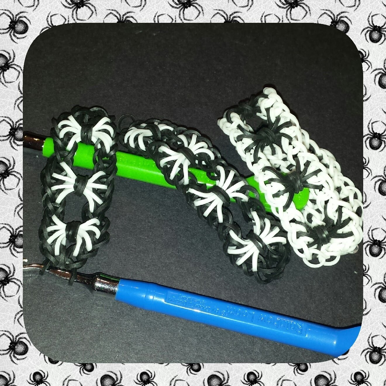 """Entrapped Spiders""  Hook only Rainbow Loom Bracelet.How to tutorial"