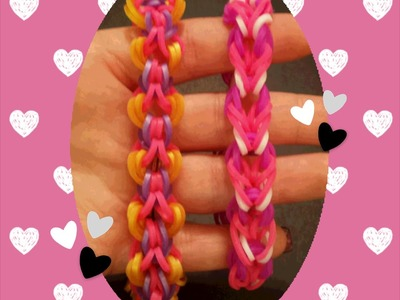 "New ""Ribbons and Hearts"" Hook Only Rainbow Loom Bracelet"