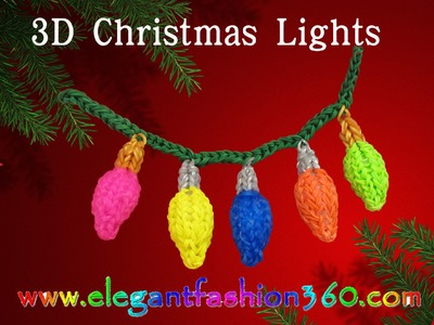Rainbow Loom Christmas Light 3D Charms - How to Loom Bands Tutorial.Christmas.Holiday.Ornaments