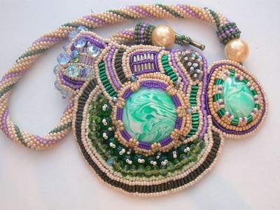 Sarubbest - Collana Embroidery con perline e cabochon in pasta polimerica
