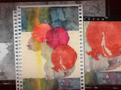 Stained Paper Collage with Watercolor