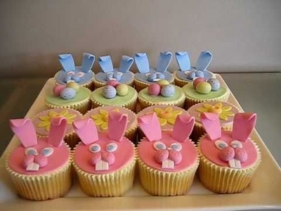 Fondant Easter Cupcakes (Bunnies, Easter Eggs & Sunflowers) How to on my channel