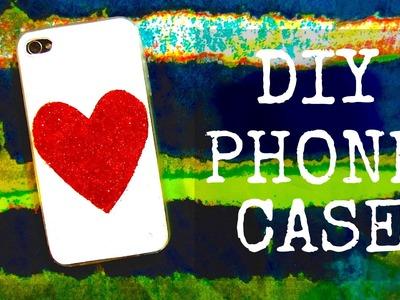 DIY Glitter Heart Phone Case