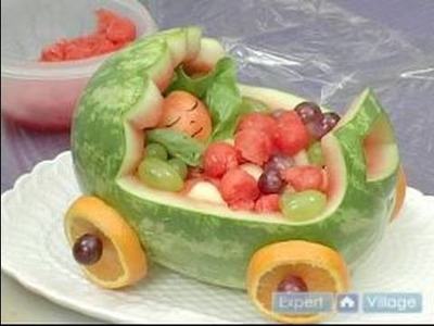 How to Carve Fruit Centerpieces : Displaying A Baby Stroller Fruit Centerpiece