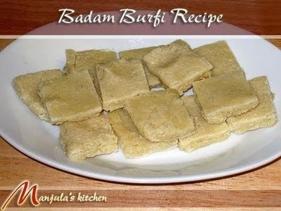 Badam Burfi (Almond Candy) by Manjula, Indian Vegetarian Food