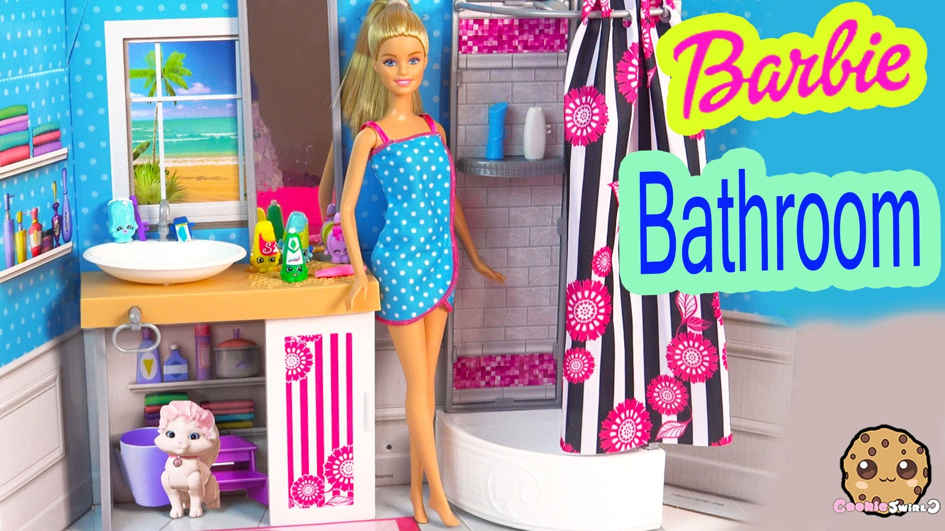 Barbie Doll Deluxe Bathroom with Shower Playset + Brushes Teeth, Playdoh Mask, Gets Ready For Bed
