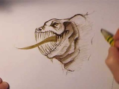 Sweet, pink dragons cute face speed drawing