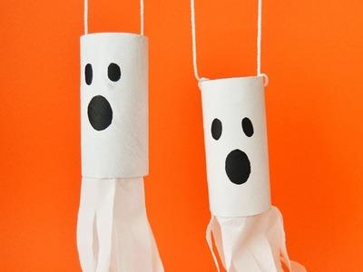 Hanging ghost. Halloween Handicrafts for kids.