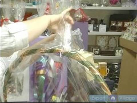 How To Make Elegant Gift Baskets : How To Wrap A Gift Basket With Cellophane: Part 2