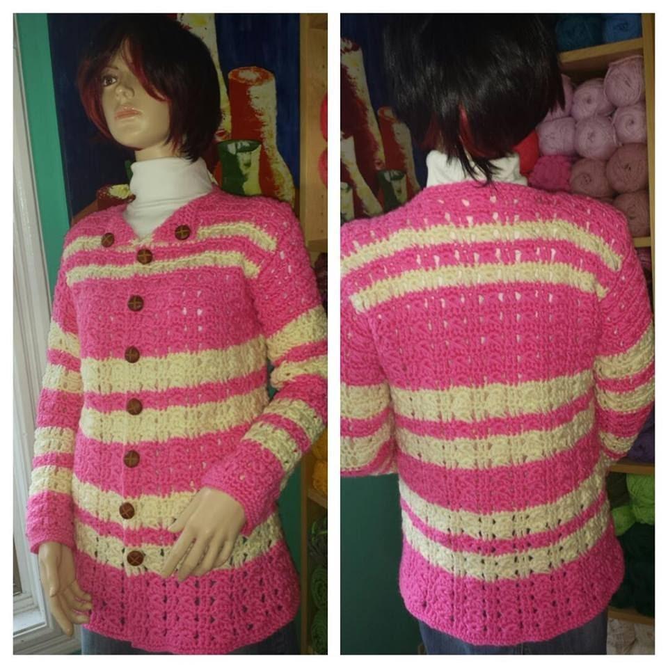 Crochet Sueter o Cardigan Rosa Parte # 1