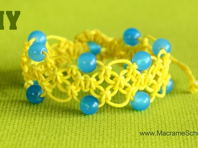 DIY Easy Macramé Square Knot Bracelet with Beads