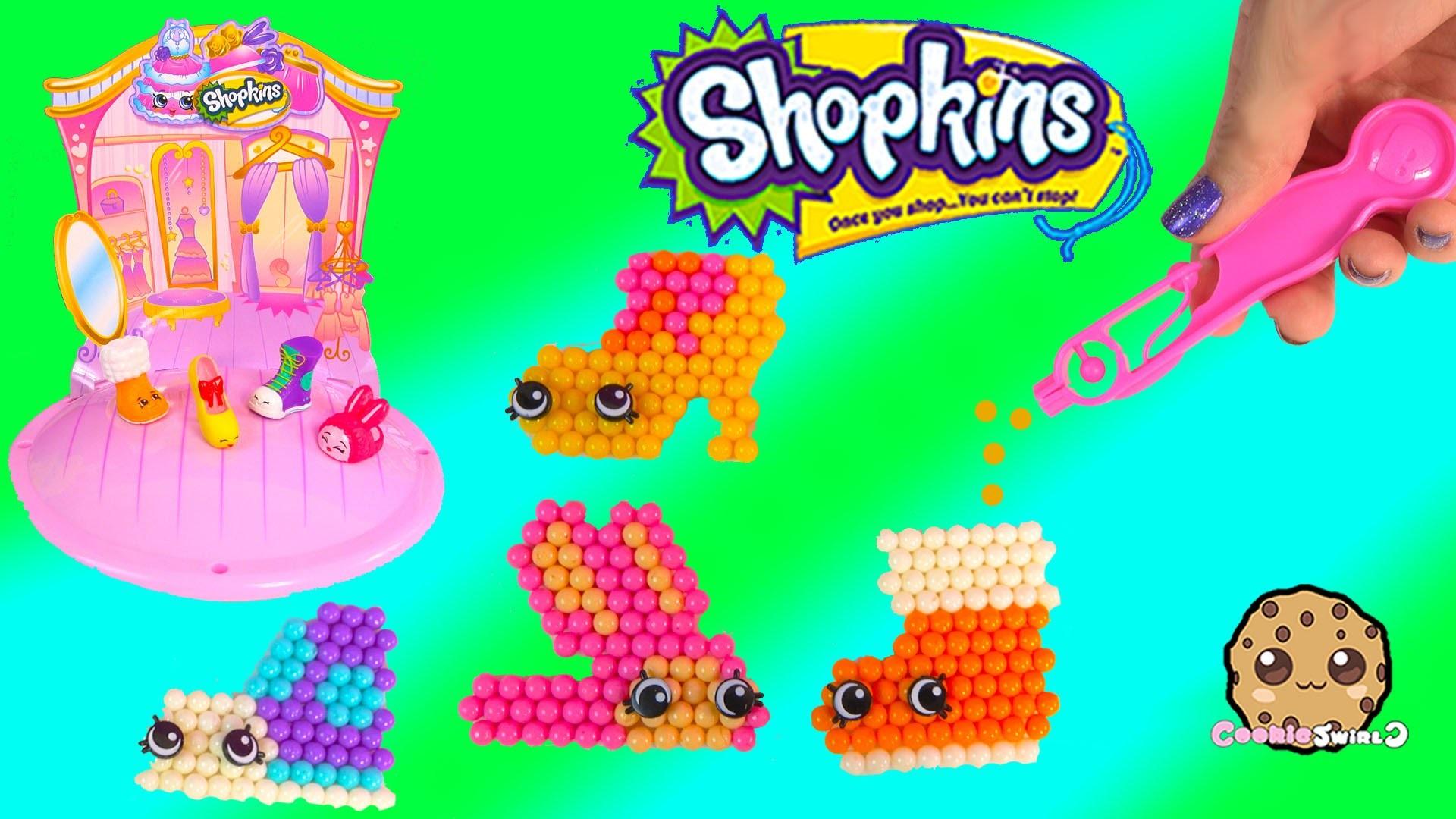 Shopkins Season 2 + 3 Fashion Cuties Beados Shoes Craft Playset Unboxing - Cookieswirlc Video