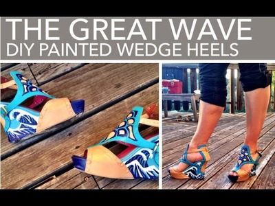 DIY hand-painted wedge heels: The Great Wave design